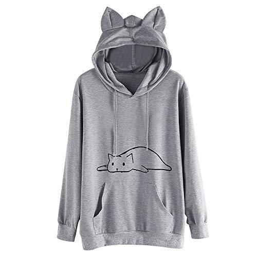 KUKICAT Sweatshirt Damen Große Größe Einfarbig Cat Print Ear Kapuzenpullover