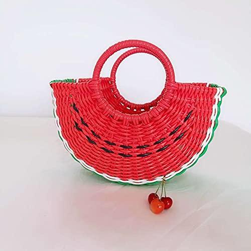 Cesta Cesta De La Compra De Plástico Cesta De La Compra Cesta De Frutas Y Verduras Cesta De Plástico Tejida A Mano 28cm * 17cm * 8cm Rojo