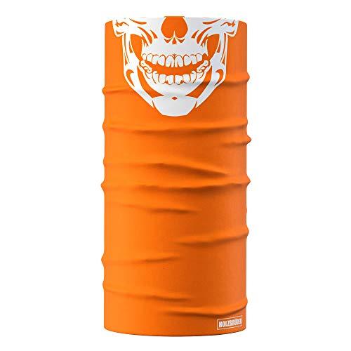HOLZBRÜDER® Phantoms Multifunktionstuch Bandanas für den Wald zum Holzmachen mit der Kettensäge oder fürs Hobby (Skull Orange)