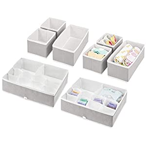 crib bedding and baby bedding mdesign soft fabric dresser drawer and closet storage organizer set for child/kids room, nursery - includes organizer bins in 3 sizes - decorative print with solid trim - set of 8 - light gray/white