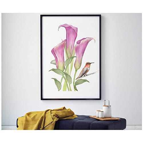 sjkkad Aquarel bloem en vogel decoratief schilderij achtergrond wanddecoratie schilderij druk op canvas -50x70cm geen lijst