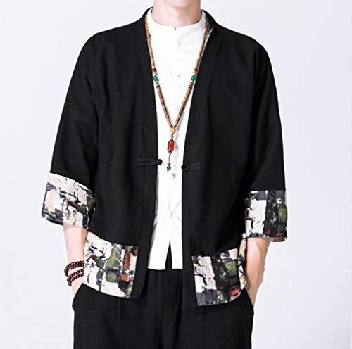 Huien Kimono Hombre Yukata Kimono japonés Tradicional Kimono para Hombre Chaqueta Camisa Samurai Disfraz Ropa Cosplay Kimono Chino, 1, XXXL