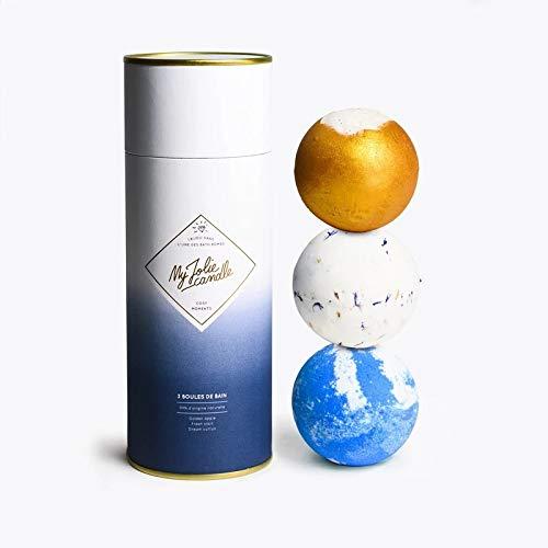 My Jolie Candle - Coffret de 3 boules de bains effervescentes Cosy Moments - Bijou surprise à l'intérieur : Bracelet en Plaqué Or - composition naturelle et respectueuse
