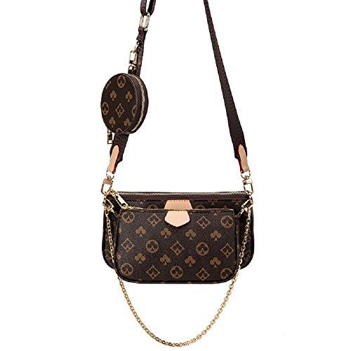 NIUJNE Damen Umhängetasche 5 in1 Multi Pochette Mehrzweck Handtasche Schultertasche mit Kleine Tasche für Frauen (Braun)
