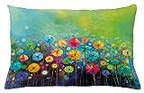ABAKUHAUS Fleur Hausse de Coussin, Pissenlits Colorés, pour Usage intérieur et extérieur, 65 x 40 cm, Multicolore