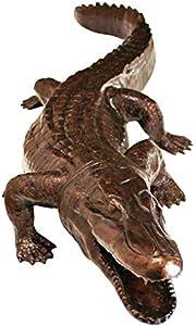 Design Toscano AS21592 Statua da Giardino Alligatore Furtivo, Bronzo, 35.5x106.5x15 cm