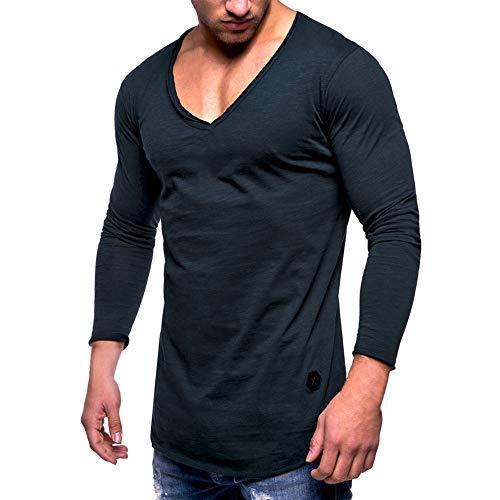 MRULIC Herren Longsleeve Rundhals Sweatshirt Slim Fit Lang Ärmel Muskel Fitness Baumwolle Casual Tops Shirts RH-011(Marineblau,EU-52/CN-3XL)