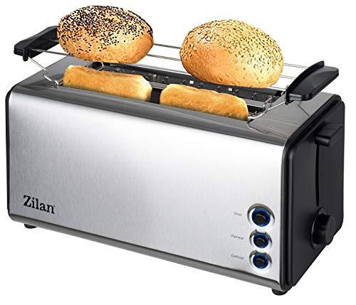 Toaster Langschlitz | 4 Scheiben Toastautomat | XXL Toaster | 1300 Watt | 5-Stufen Bräuneregler | Brötchenaufsatz | Auftau-Funktion | Krümmelschublade |