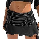 Eghunooze Falda plisada de talle alto para las mujeres con volantes fruncidos falda de tenis patinador una línea acanalada falda corta verano Streetwear