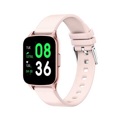 evermotor - Reloj inteligente, pulsera de seguimiento de actividad que registra la frecuencia cardíaca, la presión arterial, la actividad y el sueño, y avisa de llamadas y mensajes, rosa