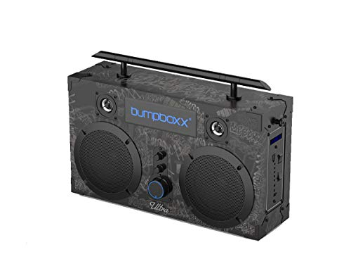 Bumpboxx Bluetooth Boombox Ultra Black Graffiti BBG | Retro Boombox with Bluetooth Speaker | Rechargeable Bluetooth Speaker