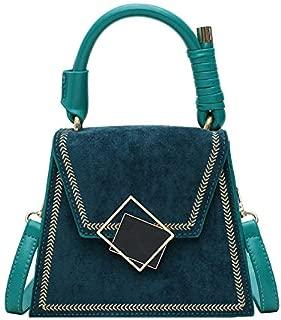 TOOGOO Women's Handbag Scrub PU Leather Bag Retro Small Square Bag Shoulder Messenger Bag Green