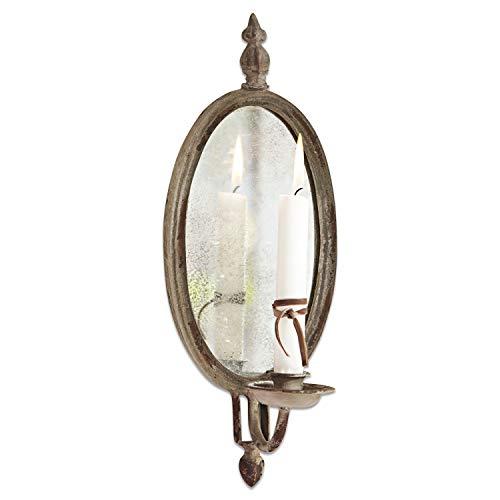 Loberon Kerzenhalter Eugene, Eisen/Spiegelglas, H/B ca. 37,5/14,5 cm, Creme