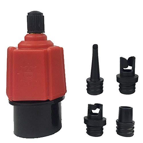 Baiwka Adaptador de válvula de Aire multifunción portátil con Cuatro Tipos de adaptadores de válvula de neumático para Sup Schrader válvulas Kayak Inflable Barco balsa pie Bomba eléctrica