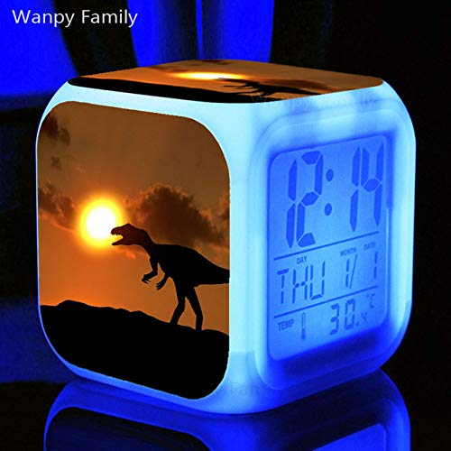 Zhuhuimin dinosaurus LED wekker 7 kleuren heldere digitale wekker multifunctioneel flash-horloge voor kinderverjaardagscadeaus