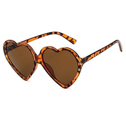 Amor del corazón gafas de sol de las mujeres atractivas de la manera retro lindo del ojo de gato barato de la vendimia Gafas de sol rojo púrpura del té lente UV400 Mujer ( Lenses Color : Leopard Tea )