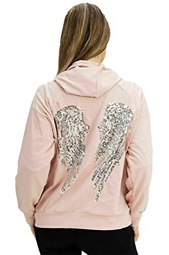 Sudadera de manga larga para mujer, diseño de alas de ángel, con lentejuelas, para mujer, rosa, 44