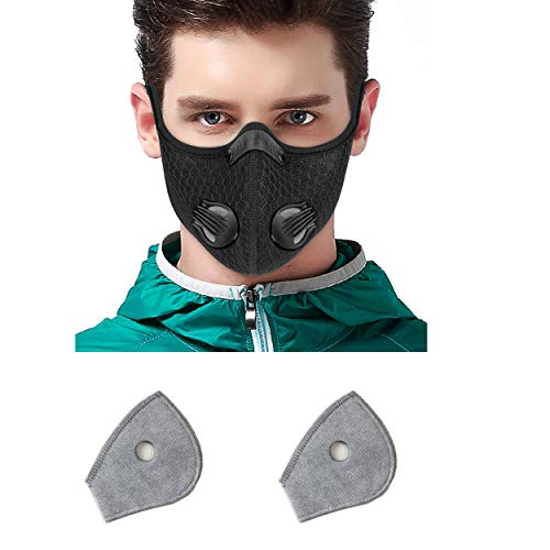 Toys4Boys - Maschera da ciclismo con filtro ai carboni attivi, per moto, ciclismo, allenamento