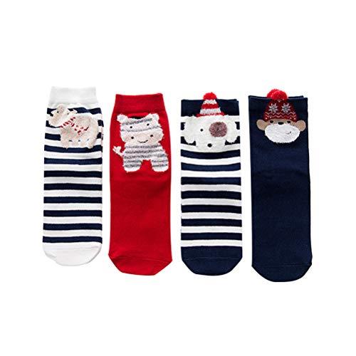 BESTOYARD 4 Paires Casual Chaussettes De Noël Coloré Fun Coton Chaussettes Crew pour Les Fêtes De Noël Cadeaux Femmes Filles Taille Libre
