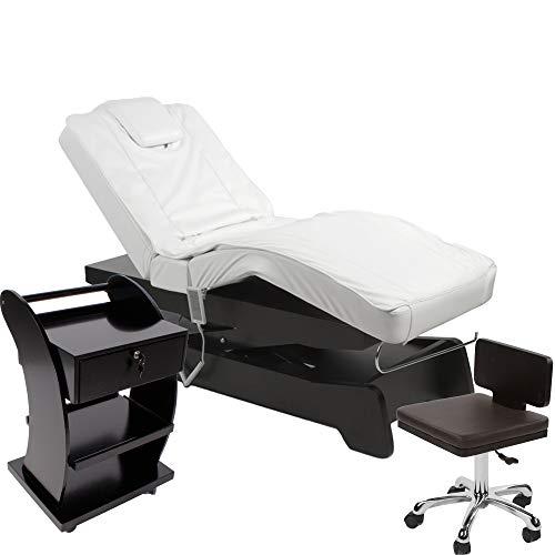 950208a Elektrische Massage/Wellnesskabine Liege + Arbeitsstuhl + Beistelltisch (schwarz/weiß)