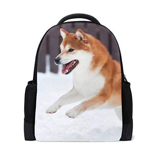ColourLife Mochila para livros Dog On The Snowy Land, mochila escolar casual para viagens