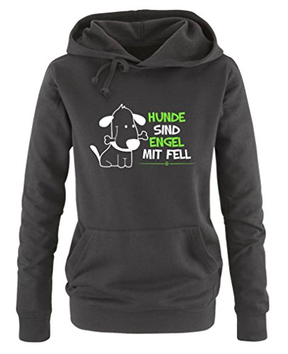 Comedy Shirts - Hunde sind Engel mit Fell - Damen Hoodie - Schwarz / Weiss-Neongrün Gr. M