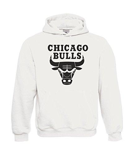 Felpa con cappuccio Chicago Bulls bianco M