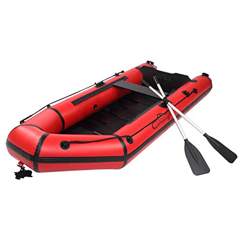 Raft Inflatable Kayak with Air Pump Rope Paddle, Camping Survivals 180-330Kg Water Adult Assault Boat, Inflatable Boat Canoe for Fishing, Hunting Or Lakes, Rivers and Whitewater Rapids,Red,7.5ft