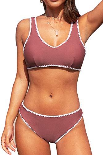 CUPSHE Rosa und Weißer Gehäkelte Trim Sportlicher Bikini Set, L