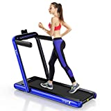 Dripex 2 in 1 Folding Treadmill, 2.25HP Under-Desk Motorized Treadmill w/Bluetooth Speaker, Remote Control, LED Display, Easy Assembly, for Home Office Cardio Fitness, Indoor Walking Running (Blue)