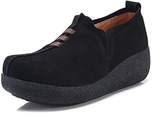 Solshine Damen Leder Loafers Keilabsatz Plateau Schlupfschuhe 574 Schwarz 40EU