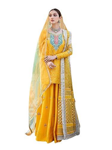 Listo para usar Amarillo Musulmana Mujer Eid Festival Georgette Lentejuelas Sharara Short Kurti Traje Plus tamaño 5882 - - 3X/grande