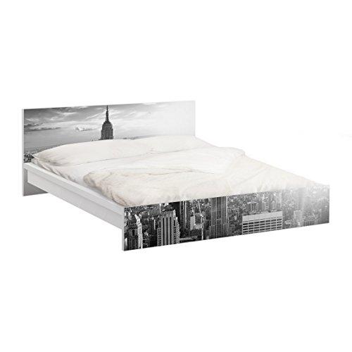 Apalis Vinilo Adhesivo para Muebles IKEA - Malm Bed Low 160x200cm Manhattan Skyline, Größe:77cm x 177cm