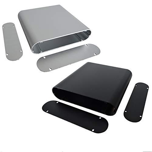 Aluminium-Projektbox - SENRISE DIY Aluminium Instrumentenkasten Elektronisches Gehäuse für elektronische Projekte, Netzteile (40 x 165 x 130 mm) silberfarben, silber