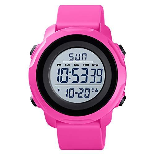 TONSHEN Męskie wodoodporne zegarki sportowe LED elektroniczny cyfrowy podwójny alarm odliczania czasu na zewnątrz wojskowy plastikowy zegarek pasek Czerwony