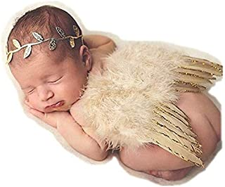 HOLOMALL Newborn Baby Photography Props Feather Angel Wings and Headband Set Baby Hair Accessories Photo Prop Costume