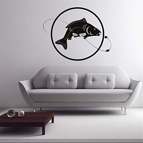 GJQFJBS Fish Line Cebo Pesca Etiqueta de la pared Círculo Decoración del hogar Dormitorio Decoración de la pared Vinilo Sala de estar Extraíble Tatuajes de pared Gris 75cmx59cm M