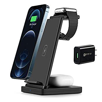 Wireless Charging Station SUNACCL 3 in 1 Qi-Certified Fast Charge Stand Dock for iPhone 12/12 Pro/11/11pro Max/X/XR/Xs Max/8/8 Plus iWatch Series SE 6 5 4 3 2 AirPods Pro/2  with QC3.0 Adapter