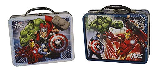 Avengers Assemble Marvel Tin Box Collectible Lunch Box - Iron Man - Hulk - Thor - Captain America (Dark Blue)