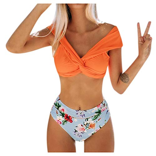 MINIKIMI Bikini dames set High Waist tweedelige badpak met blad-patroon print badmode sexy mode figuurvormend Beachwear Tankini