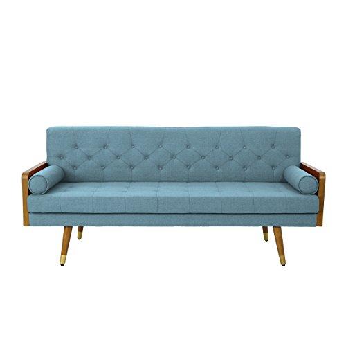 Christopher Knight Home 305141 Aidan Mid Century Modern Tufted Fabric Sofa, Blue