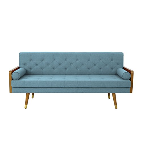 Christopher Knight Home 305141 Aidan Mid Century Modern Tufted Fabric Sofa, Blue