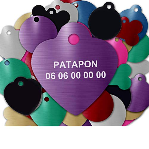 GRAVURE CONCEPT Médaille pour Chien Et Chat À Personnaliser – Médaillon Gravé 25 mm - 1 à 2 Lignes – 8 Couleurs Disponibles (Violet, Coeur)