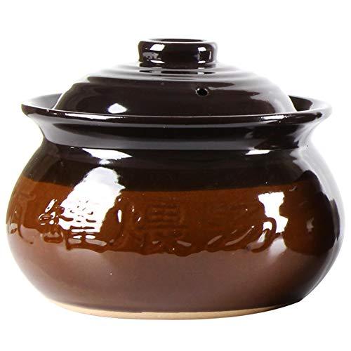JINTIANSDS 2pcs Glazed Clay Earthenware Pot,Household Ceramic Casserole,Portable Heat-resistant Saucepan,Soup Crock Jar For Picnic Potluck B 1.5l(1.32 Quart)