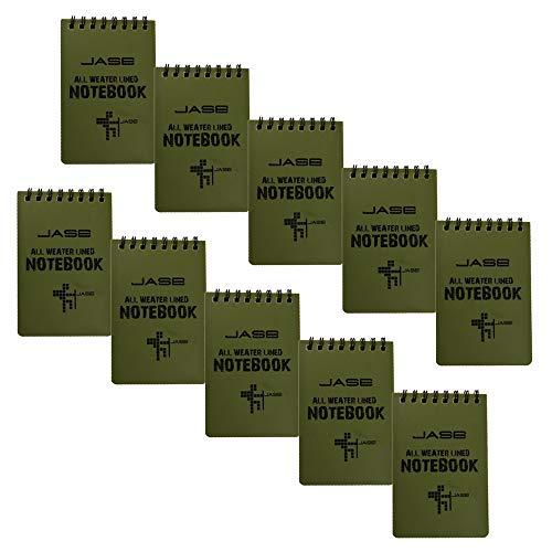 Stonges 10 Pack wasserdichtes Notebook, Allwetter-Taschenformat, taktischer Notizblock, oberste Spiralnotiz Raster Papier Notepad für Aktivitäten im Freien (Grün, 3,2