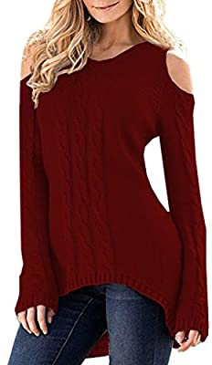 Merryfun Women's Cold Shoulder Sweater Long Sleeve Knit Tops,Wine Red M