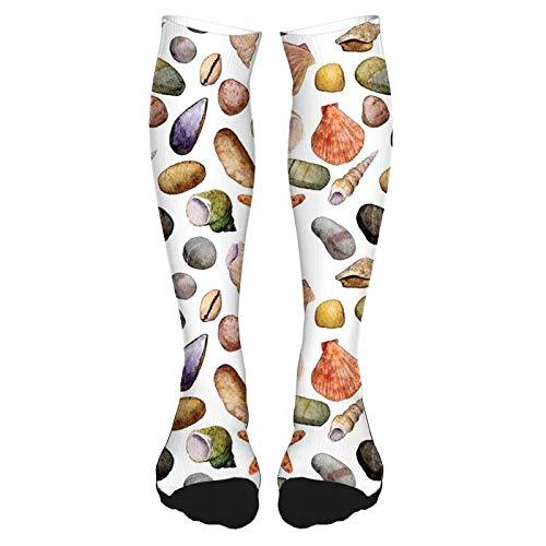 Calcetines altos de algodón para el muslo 2021, para playa, arena, dibujo de piedras de mar, estrellas de mar y conchas, calcetines largos hasta la rodilla para hombre y mujer
