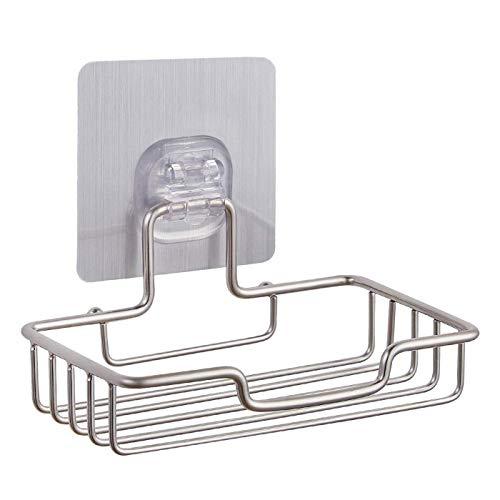 LilyJudy Soporte para jabonera para baño o ducha, montaje en pared, sin uñas, sin perforaciones, soporte para esponja de acero para cocina (base opaca)