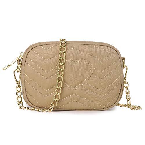 Wind Took Umhängetasche Damen Klein Sling Tasche Vintage Kette Bag Clutch Mini Citytasche für Hochzeit Party Disko, 11.5x17.5x5.5 cm Khaki