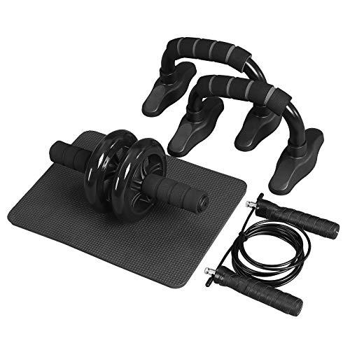 SONGMICS 3-in-1 Trainingsgeräte-Set, Fitnessgeräte für den Heimgebrauch, Bauchtrainer, Bauchroller, Liegestützgriffe, Springseil und Kniematte, zum Bauchtraining, Ganzkörpertraining, schwarz SPU77BKV1